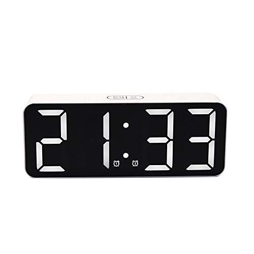 Monland Despertador de Escritorio Digital Espejo Fecha Temperatura Pantalla LED, Puerto USB, Relojes de RepeticióN de Contacto de Mesita de Noche para Dormitorio