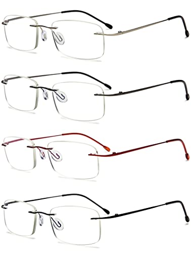 VEVESMUNDO Randlos Anti Blaulicht Titan Lesebrille Metall Groß Computerbrille Blaulichtblockierend Sehhilfe Lesehilfe Brillen für Herren Damen (4 Stück Set(Schwarz+Rot+Grau+Silber), 2.0)