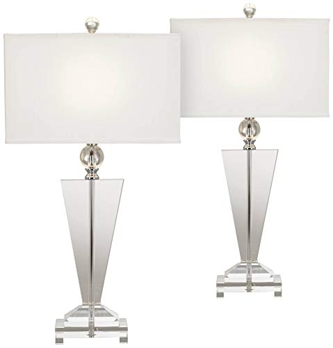 Modern Contemporary Style Table Lamps Set of 2 Art Deco Crystal Trophy Off White Rectangular Shade...