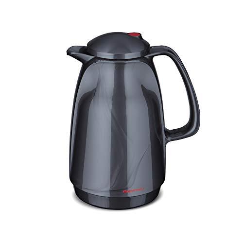 ROTPUNKT Isolierkanne 220 Bella 1,0 l | Zweifunktions-Drehverschluss | BPA-frei - gesundes Trinken | Made in Germany | Warm + Kalthaltung | Glaseinsatz | Titan