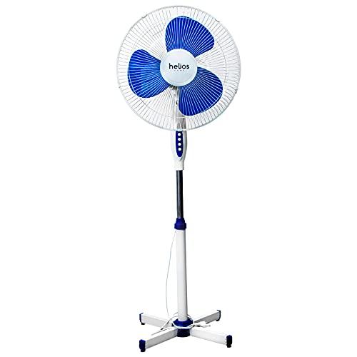 HELIOS HOME - Ventilador de Pie Levante 16' - Ventilador Pie 45W de Potencia, Oscilante 180º y 125 cm de Altura - Color Blanco y Azul