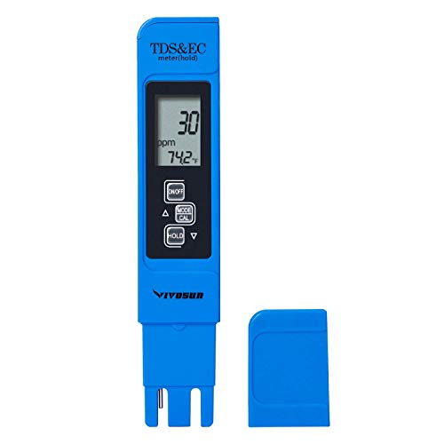 CARTSHOPPER Digital Water TDS EC and Temperature (3 in 1) Meter, Water Quality Purity Tester, ATC Function, 1ppm Resolution, 0-9990 ppm Measurement Range for Drinking Water