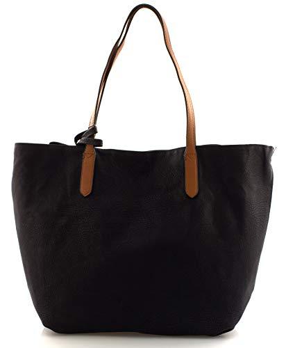 Dudlin Damen Handtaschen gross Schultertasche Umhängetasche Shopper Bag XXL Schwarz Cognac Rot Beige Damentasche Basic Tasche (Schwarz)
