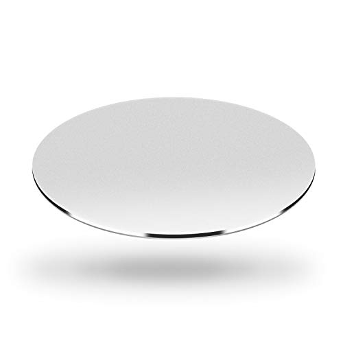 DSKKWS Metal Aluminum Mouse Pad, Office Thin Hard Mouse Mat Leather Surface Double Side Precision Silver and Black Mouse Pads for Fast and Accurate Control(Round)