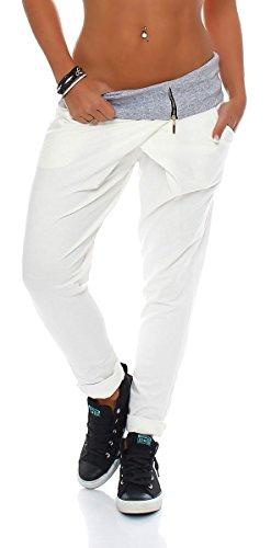 Malito Avvolgere Pantaloni Boyfriend Twist Aladin Sbuffo Pantaloni Pump Baggy Yoga 3318 Donna Taglia Unica (Bianco)
