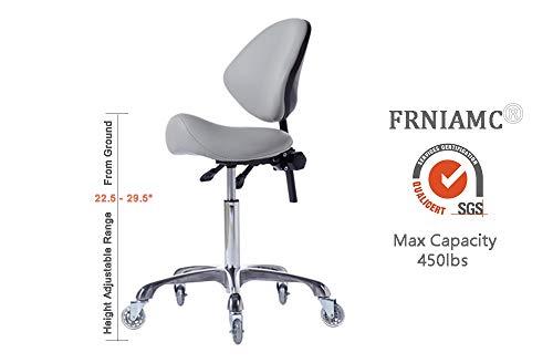 FRNIAMC Hydraulic Saddle Rolling Adjustable, Heavy-Duty (450 lbs) Stool Chair for Beauty Salon Massage Dental Clinic Home Office Use(Grey)