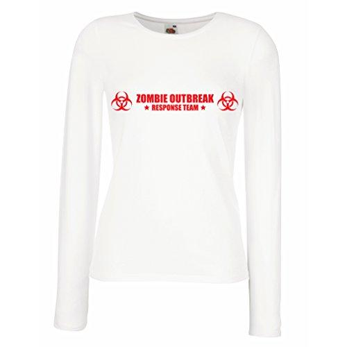 Weibliche Langen Ärmeln T-Shirt Zombie Outbreak Response Team (X-Large Weiß Rote)