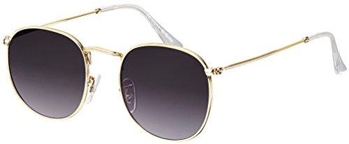 Sonnenbrille La Optica UV 400 Schutz Unisex Damen Herren Retro Rund Round - Gold (Gläser: Grau)