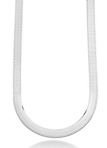 MiaBella Solid 925 Sterling Silver Italian 10mm Flat Herringbone Chain Necklace for Women Men 17, 18, 20, 22 Inch Made in Italy (20 Inches)