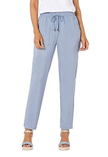 Sublevel Damen Stoff-Hose mit Bindegürtel aus Viskose Light-Blue XS