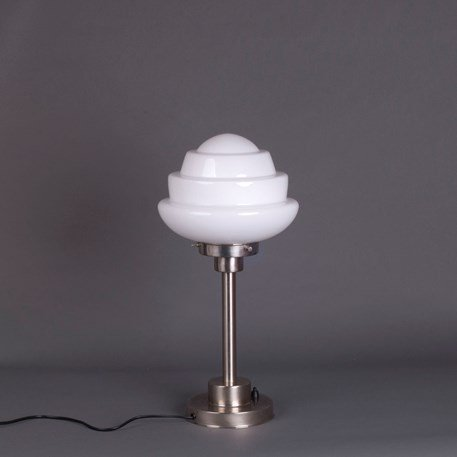 Art Deco Table Lamp Citrus Small - White Glass and Matte Nickel Angular Fixture