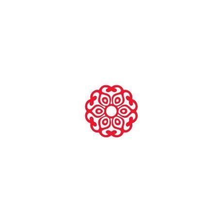 Stickers Mandala-logo 3 stickers bloem roos zelfklevend 12 cm