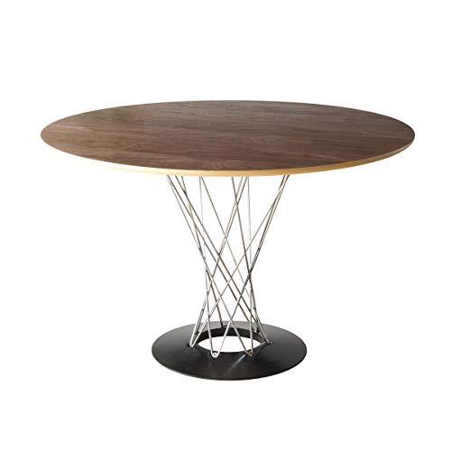 ダイニング 3点セット 2人 円形 直径110cm デザイナーズ ダイニング サイクロン テーブル ウッド クルミ材 木目調 チェア イームズチェア DSR 木製 ジェネリック家具 ウォールナット