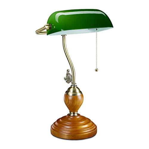 Relaxdays Lámpara banquera con interruptor de cordón y pantalla de cristal inclinable, base de madera, diseño retro, casquillo E27, lámpara de escritorio, color verde, 10034424
