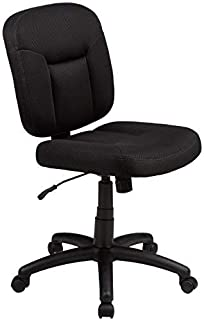 Amazon Basics Upholstered, Low-Back, Adjustable, Swivel Office Desk Chair, Black