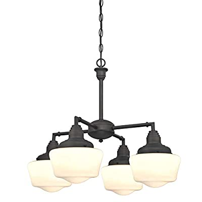 Westinghouse Lighting 6342000 Scholar Four-Light Indoor Convertible Chandelier/Semi-Flush Ceiling Fixture, Oil Rubbed Bronze Finish with White Opal Glass