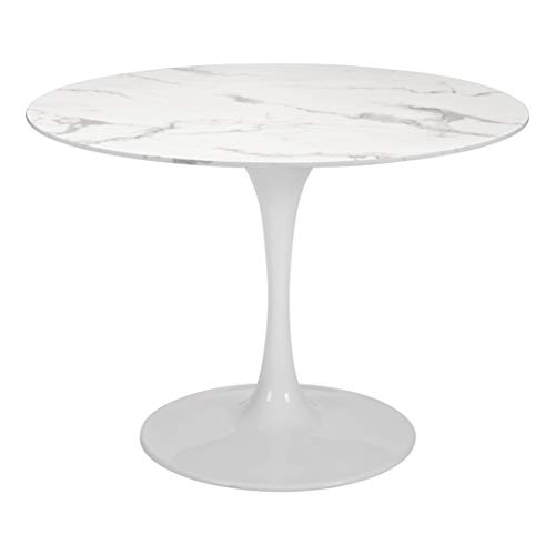 Zuo Modern Dylan Bar Table, Stone & White; Smooth, Durable Faux Mable Top; Lacquered Base; 250 lbs Weight Capacity