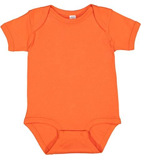 RABBIT SKINS, Baby Soft Short-Sleeve Bodysuit, Orange, 6 Months
