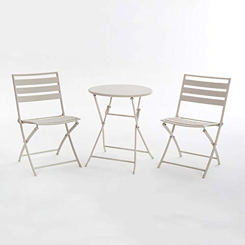 ZWJLIZI Folding table/chair, portable wrought iron balcony square/round leisure table and chair (white), Nordic ins style photo props (Color : 1 table and 2 chairs (round table))