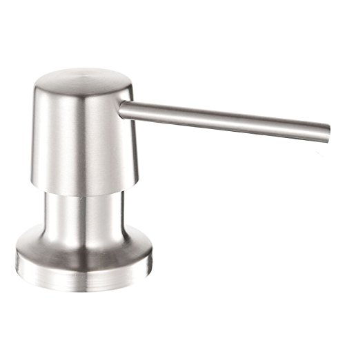 BSLINO Stainless Steel Built in Pump Kitchen Sink Dish Soap Dispenser Large Capacity 17 OZ Bottle 3.15 Inch Threaded Tube for Thick Deck Installation