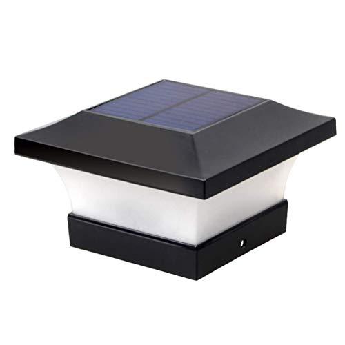 ALBEFY Solar LED-Pfostenleuchten Garten im Freien IP65 Wasserdichte Quadratische Schwarze Landschaftsposten-Kappenlampe für 4 x 4 Holzpfosten/Deck/Patio/Zaun (Tageslichtweiß 6000K)
