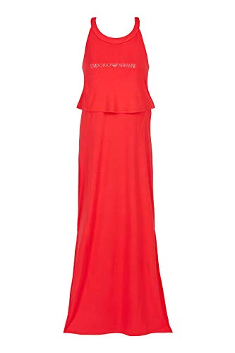 Emporio Armani Swimwear Damen Long Dress Beachwear Beach Party Strandkleid, Rot (Rosso 00074), 38 (Herstellergröße: M)