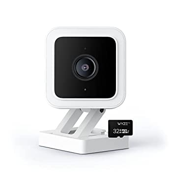 Wyze Cam v3 1080p HD Indoor/Outdoor Video Camera with Color Night Viewing 2-Way Audio Compatible with Alexa & The Google Assistant and IFTTT with Wyze 32GB MicroSDHC Card Class 10