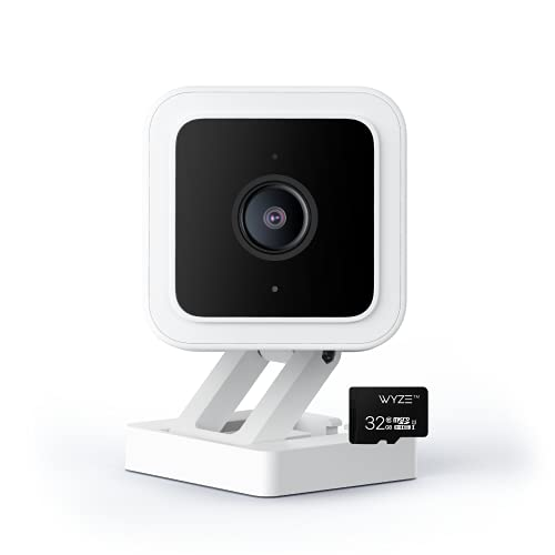 Wyze Cam v3 1080p HD Indoor/Outdoor Video Camera with Color Night Viewing, 2-Way Audio, Compatible with Alexa & The Google Assistant and IFTTT with Wyze 32GB MicroSDHC Card Class 10