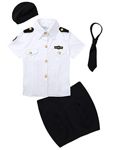 Agoky Damen Polizistin Kostüm Cosplay Uniform Set aus Kurzarm Polizei Hemd+Bleistift Rock kurz+Krawatte+Mütze Halloween Fasching Outfits Weiss&Schwarz Large