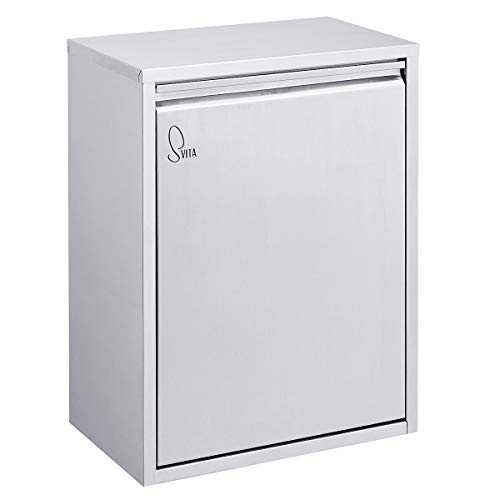 SVITA H2X15 Edelstahl Mülleimer Abfallsammler Abfalleimer Mülltrennung mit Schub-Fächern (Silber, 30 Liter 2x15L)