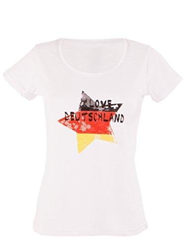 Ultrasport Damen WM Fan T-Shirt Deutschland, Weiß, XL