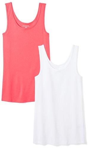 Amazon Essentials Damen Tanktop, schmale Passform, 2er-Pack, Rot (Bright Pink/White), Medium