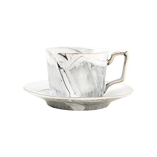 SXXYTCWL Taza de café de la China de Hueso, Taza de té de cerámica de Cerebro de Oro y Juego de té, Adecuado para Uso doméstico, Restaurante, Regalos, mármol Gris té té té Negro Tazas de té Negro