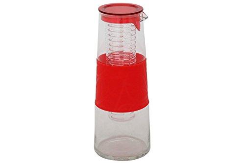 GDWorld Glaskaraffe mit Fruchteinsatz rot Deckel 1 Liter Glas Karaff