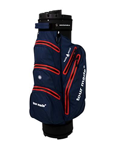 tour made Waterproof Wasserdicht WP14TEX V2 Organizer Trolleybag Cart Bag Golftasche Golfbag Modell 2020 (dunkelblau-rot)