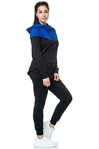 Violento Damen Trainingsanzug | 0984 (XXL, Schwarz-Blau)