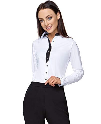 HEVENTON Bluse Damen Langarm in Weiß Hemdbluse - Größe 34 bis 42 - elegant und hochwertig 1198 Größe 38