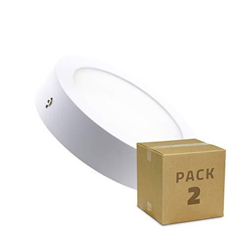 LEDKIA LIGHTING Pack Plafones LED 12W Circular (2 un) Blanco Frío 6000K - 6500K