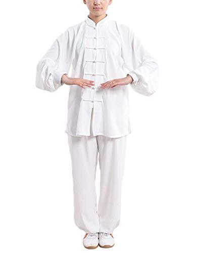 DianshaoA Tai Chi Uniforme Hebilla Collar de pie Mujeres Unisex de algodón Kung Fu Trajes Conjunto para Qi Gong