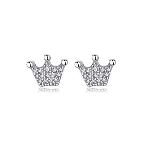 YJTT Pendientes Sterling Silver Stud Harings for Las Mujeres Rose Gold Color Crystal Earing Pendiente de la Corona Joyería de Moda (Color : Plata)