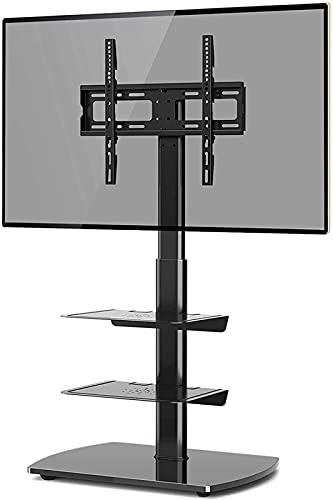 Soporte de Suelo para TV con 3 estantes de Vidrio Templado para Plasma LED LCD de 26-60 Pulgadas, Altura Plana Ajustable (Color: Negro)