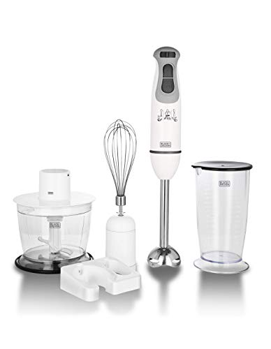 Black+Decker BXBL6002IN 600 Watt Powerful Hand Blender with Chopper, Whisk, Cup and Wall Rack | Speed Contol Slider (White)