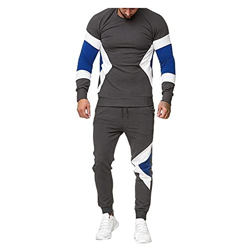 MITCOWBOYS Chándal para hombre, chándal deportivo, tallas grandes, ligero, para tiempo libre, deporte, fitness, actividad, ocio, chándal, gris, L