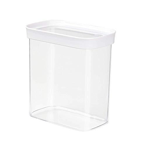 Emsa 513558 Stapelbare Vorratsdose für Trockenvorräte, 100 % Keimfrei, Volumen 1.6 Liter, Rechteckig, Weiß/Transparent, Optima