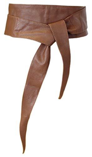irisaa Damen Leder Taillengürtel Breiter Obi Gürtel Wickelgürtel Echtleder Bindegürtel Hüftgürtel Party Gürtel aus Italien, Damen Taillengürtel 2020:Braun