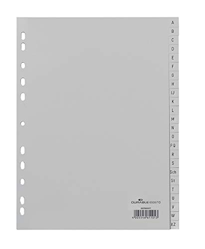 Durable Register A -Z, DIN A4, grau, PP, Universallochung, 24-teilig (15er Pack)
