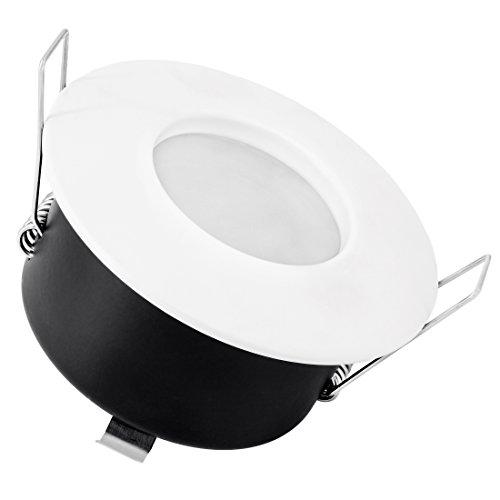 LED Einbau-Strahler DIMMBAR für Bad, Feuchtraum oder Außen IP65, Einbau-Leuchte weiß-matt Typ RW-1 mit 7W GU10 LED Warmweiß