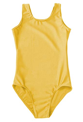 Speerise Little Girls Toddler Spandex Ballet Dance Tank Leotard (Size 2-16), Yellow, 8-10