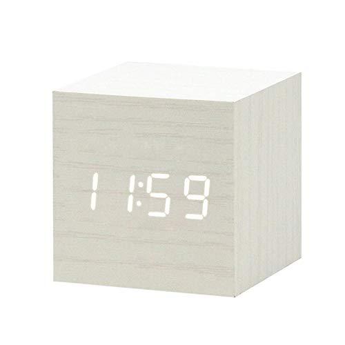 Reloj Despertador Digital con Cargador USB, Reloj Despertador de Madera LED, Mesa de Control de Voz, Despertador de Madera Digital, Escritorio electrónico K