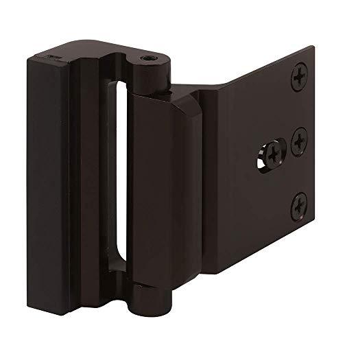 Security Door Reinforcement Lock, 3 inch Stop, Aluminum Construction Anodized Finish, Bronze